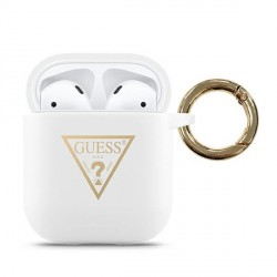 Guess AirPods 1 / 2 Hülle Triangle Logo Weiß GUACA2LSTLWH