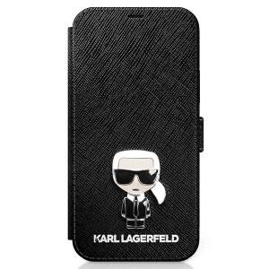 Karl Lagerfeld iPhone 12 Pro Max 6,7 Tasche Saffiano Ikonik Metal KLFLBKP12LIKMSBK