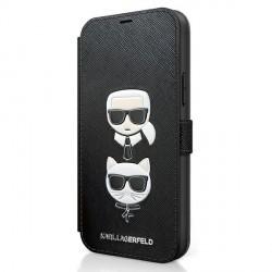 Karl Lagerfeld iPhone 12 Pro Max 6,7 Tasche Saffiano Karl & Choupette KLFLBKP12LSAKICKCBK
