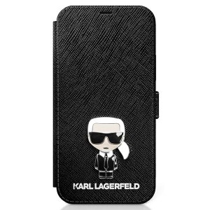 Karl Lagerfeld iPhone 12 / 12 Pro 6,1 Tasche Saffiano Ikonik Metal KLFLBKP12MIKMSBK
