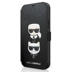 Karl Lagerfeld iPhone 12 / 12 Pro 6,1 Tasche Saffiano Karl & Choupette KLFLBKP12MSAKICKCBK