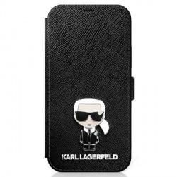 Karl Lagerfeld iPhone 12 mini 5,4 Tasche Saffiano Ikonik Metal KLFLBKP12SIKMSBK