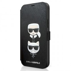 Karl Lagerfeld iPhone 12 mini 5,4 Tasche Saffiano Karl & Choupette KLFLBKP12MIKMSBK