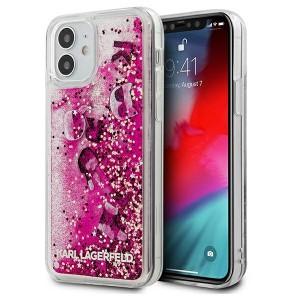 Karl Lagerfeld iPhone 12 mini Case Glitter Charms Pink KLHCP12SROPI